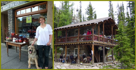 (left) Arlo and Susanne at The Banff Tea Company - (right) The Plain of Six Teahouse, Lake Louise